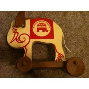 Republican National Convention New Orleans 1988 Wood Elephant Pull toy