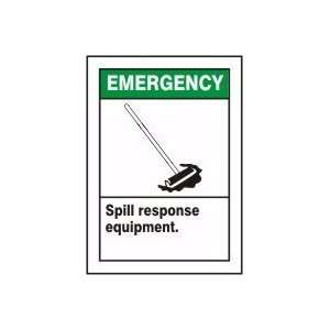 SPILL RESPONSE EQUIPMENT (W/GRAPHIC) Sign   14 x 10 Adhesive Dura