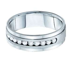 Mens 1/4 Carat Diamond 14k White Gold Anniversary Wedding Ring