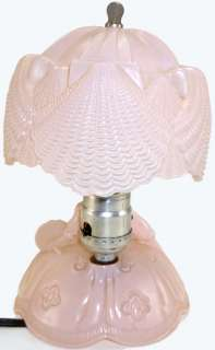 Pink Depression Glass Southern Belle Figural Lamp