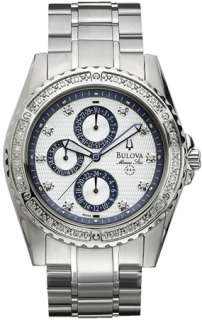 Bulova Diamond Marine Star Silver Tone Stainless Steel Mens Watch