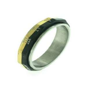 Steel Tri Colored Rolling Roman Numeral Ring, Size 9 Jewelry