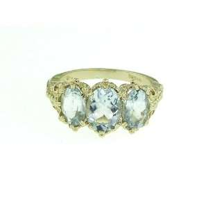 9K Yellow Gold Ladies Aquamarine Ring   Finger Sizes 5 to