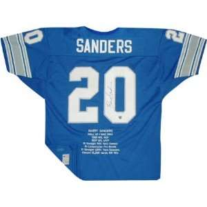 Barry Sanders Autographed Embroidered Custom Stat Blue