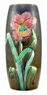 2043/ART NOUVEAU MAJOLICA VASE FIVE LILLE FRANCE.