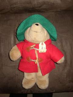 Eden Paddington Bear Stuffed Plush Green Hat Red Coat