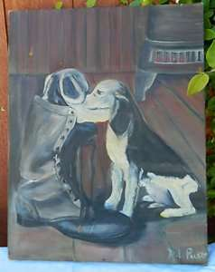 PAINTING CANVAS FARM HOUSE DOG BEAGLE SNIFFING WORK BOOT M.L. PUETT