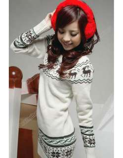 Soft New Women knit Sweater dresses Pullover Jumper Top Snowflake Deer
