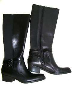 NATURALIZER ARRAY NEW Womens Black Leather Fabric Knee High Boots