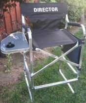 DIRECTOR Tall HEAVY DUTY Director Chair w/ Side Table & Storage Side