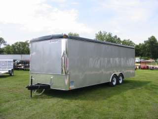 7094 United Trailer 24 ULT Silver Enclosed Car Auto Hauler Ramp LED