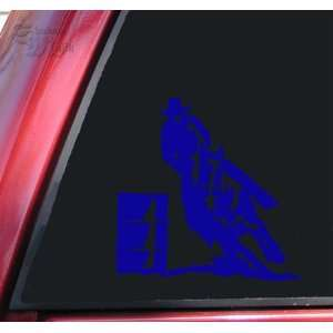 Barrel Racer Racing Rodeo Vinyl Decal Sticker   Blue Automotive