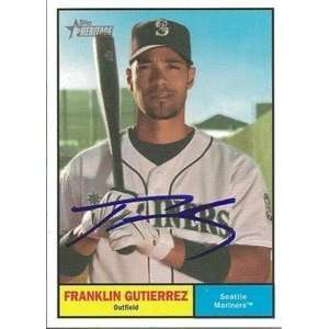 Franklin Gutierrez Signed 2010 Topps Heritage Card Sports