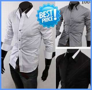 Mens Casual Dress Shirts Two Tone Collar Design 4 Color 3 Size