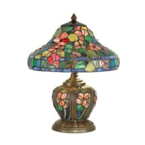 Eden Table Lamp, Antique Bronze and Art Glass Shade
