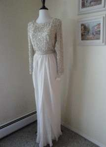 Chiffon Beaded Gown Dress S M 10 Wedding Victoria Royal NOS NWT M