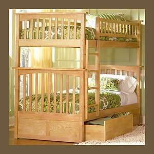 Kids Wood Bunk Bed Twin over Twin   Natural