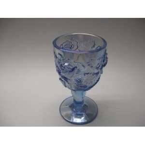 Tall Ice Blue Carnival Glass Raised Rose Water Goblet Hand Made