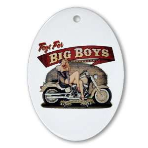 Ornament (Oval) Toys for Big Boys Lady on Motorcycle