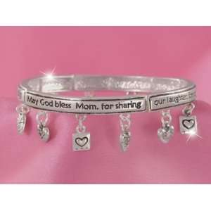 Syms Silvertone God bless Mom with Heart Charms Bracelet Jewelry