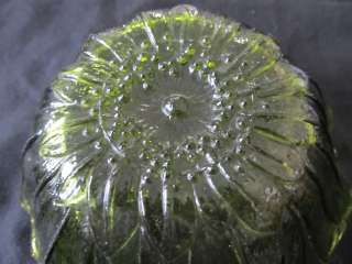 VINTAGE DEPRESSION GREEN GLASS BLOOMING FLOWER DISH