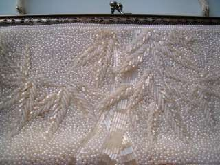 Antique Art Deco Glass Micro Beaded Clutch Purse Silver Plate Handbag