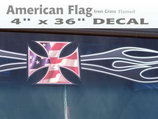 Flamed Patriotic Iron Cross windshield decal Rat Hot Rod Mopar Chevy