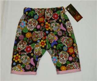 New Sugar Skull Punk Rockabilly Tattoo Pink girl Kid baby todder pants