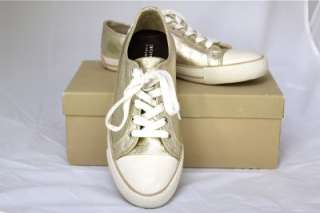 BURBERRY Gold Metallic Canvas Sneakers Flats Shoes SZ 7.5 M US 38 UK