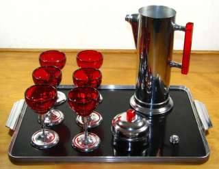 ART DECO MARTINI SET CHASE TRAY CHROME & BAKELITE COCKTAIL SHAKER & 6