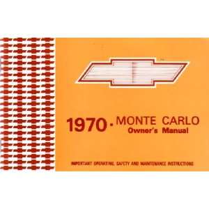 1970 CHEVROLET MONTE CARLO Owners Manual User Guide