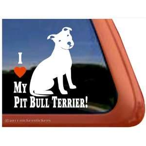 I Love My Pit Bull Terrier Dog Vinyl Window Decal Sticker