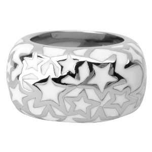 Womens Stainless Steel Ring with Steel Star Patterns Laid