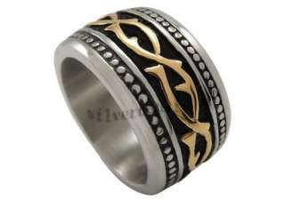 Size 12 Mens Silver Gold Celtic Stainless Steel Band Ring