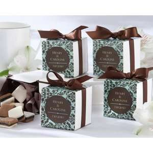 Chocolate and Turquoise Damask Make It Yours Personalized Favor Box