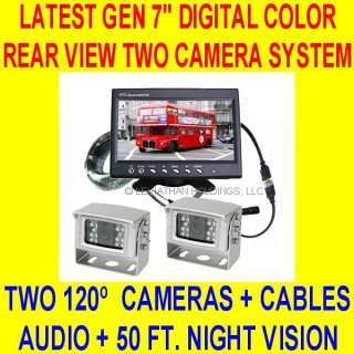 TWO CAMERA 7 REAR VIEW BACKUP SYSTEM CAR TRUCK TRAILER