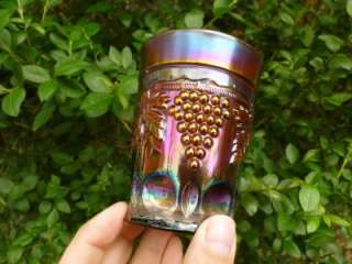 NEON LAVENDER GRAPE & CABLE THUMBPRINT CARNIVAL GLASS TUMBLER MINT CTB