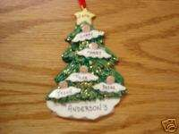 Personalized Angel Tree Family of 5 Christmas Ornament