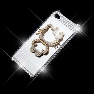 Bling Crystal Hello Kitty Case Skin For iPhone 4S White