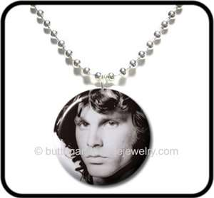 JIM MORRISON* The Doors Rock Photo Button NECKLACE