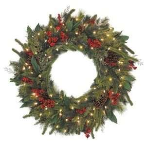 36 Pre Lit Mixed Pine Christmas Wreath Berries