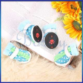 Pet Dog Boots Warm Winter Indoor Cloth Shoes Velcro Closure Dots