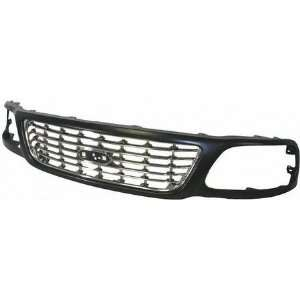 LIGHT DUTY PICKUP f 250 GRILLE TRUCK, Chrome Center, w/ Black Frame