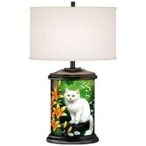 Nature Study Cat Giclee Art Base Table Lamp