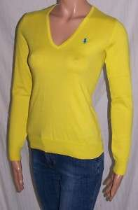 Ralph Lauren YELLOW PIMA COTTON V NECK SWEATER NWT L