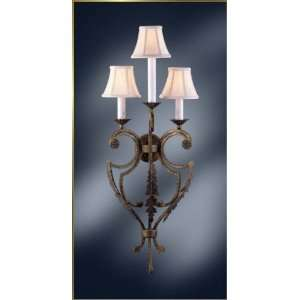 Wrought Iron Wall Sconce, MG 4200, 3 lights, Rustic Grey, 14 wide X
