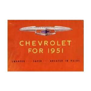 1951 CHEVROLET Sales Brochure Literature Book Piece