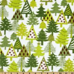 60 Wide Kaufman Minky Cuddle Christmas Trees White/Green