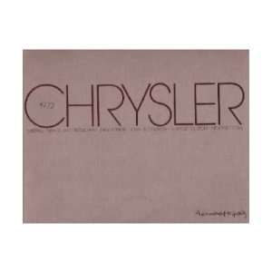 1972 CHRYSLER Sales Brochure Literature Book Piece