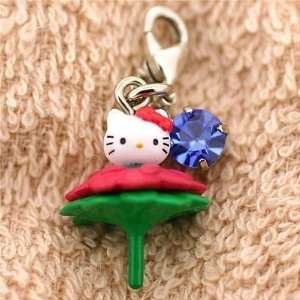 Sanrio Hello Kitty on Flower Cell Phone Zipper Pulls